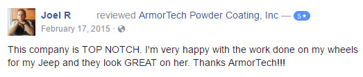 ArmorTech Powder Coating Testimonial